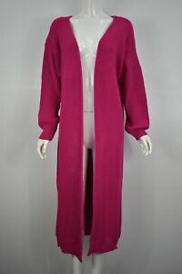 Womens Ladies Chunky Knitted Longline Long Sleeve Cardigan Jumper Coat Magenta
