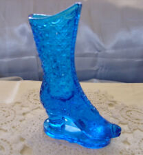 """MINT~VINTAGE~VY SRC~69""""FENTON GLASS""""COLONIAL BLUE""""DAISY&BUTTON""""BOOT""""ATTCHD STAND"""