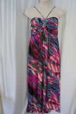 Betsy & Adam Dress Sz 10 Multi Color Sleeveless Beaded Cocktail Evening Gown