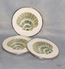 Set of 3 Pectin Shell Glass Silver Metal Drinks Coasters Made In Mexico