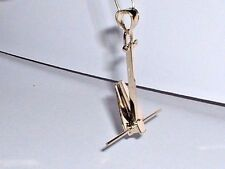 14K YELLOW GOLD MOVEABLE DANFORTH BOAT ANCHOR PENDANT CHARM