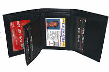 BLACK MEN'S LEATHER ID CREDIT CARD HOLDER PLAIN TRIFOLD WALLET CENTER FLAP 24