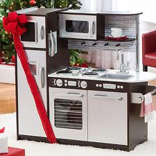 KidKraft Uptown Espresso Pretend Play Set Wood Refrigerator Kitchen Kids Toddler