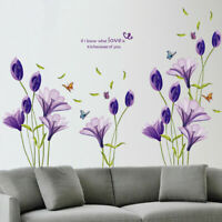 Purple Lily Flower Because Of You Wall Sticker 3D Decal Mural Decor Living Room