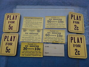 1950 Exhibit Supply DALE SIX SHOOTER Instruction & Award Cards - 10 pieces
