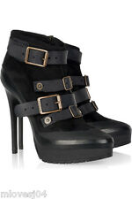 Burberry Buckle Aviator Stiletto RUNWAY Ankle Boots New Boxed BNIB UK 5 EU 38