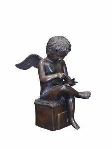 Bronze Figur Skulptur Putte ein lesender Engel 38x20x29 cm (8447)