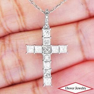 Estate 1.04ct Diamond 14K Gold Beautiful Small Cross Pendant NR