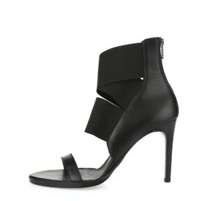 Womens HELMUT LANG Black Leather Strappy Heels Sz. R 38 L 37.5 NEW!