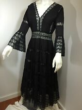 Vintage 50S 60S 70S Black Lace Mexican Dress Party Boho Hippy Ethnic