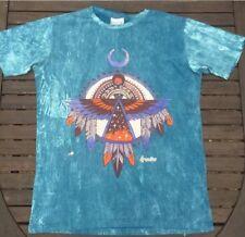 Men's Medium L14 T-shirt bleu turquoise Native American Feather Festival Hippy