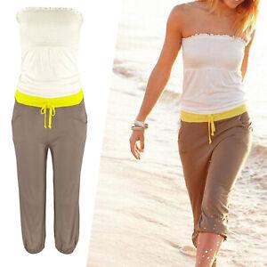 MARKEN Sommer Overall Playsuit Gr.32/34 Shirt Jersey Jumpsuit weiß gelb