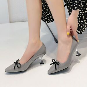 Womens Trendy Sexy Pointy Toe Bowknot Kitten Mid Heels OL Patent leather C288