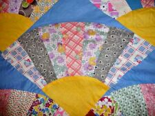 Vintage GRANDMOTHER'S FANS Quilt Top- Feedsack Prints