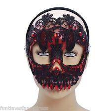 Halloween mexicano Día de los muertos Rojo Encaje Negro Calavera Máscara DÍA