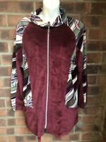 Burgundy Patterned Velour Velvet Vintage  Zip Up Top - Size 18 Or Oversize
