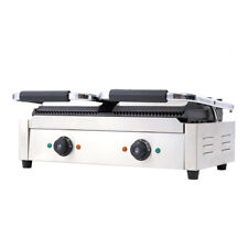 More details for grooved panini press ribbed toaster sandwich contact grill catering machine uk