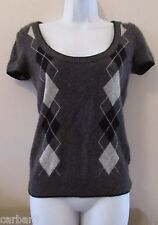 Juicy Couture Gray Argyle Cashmere Sweater Sz Small