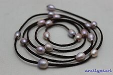 """Dark brown Leather Natural colors purple freshwater pearl necklace 48""""no metal"""