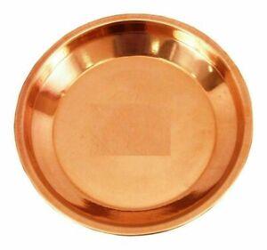 "Copper Pooja Thali Plate Poojan Spiritual Religious Gift Diameter 8"" Free Ship"