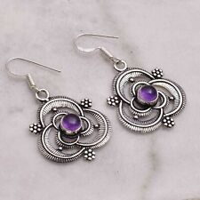 """Amethyst  Handmade Drop Dangle Earrings Jewelry 1.68"""" AE 55289"""