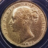 1853 REPRODUCTION Victoria gold plated Sovereign in info folder, 21mm [VGSCP]