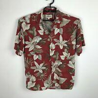 Campia Moda Hawaiian Shirt Mens Size M Red Floral Leaves Rayon Short Sleeve