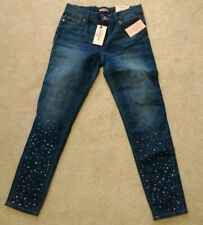 NWT Juicy Couture Dark Wash Straight Slim Leg Flaunt IT Jeans Rhinestones Size 4