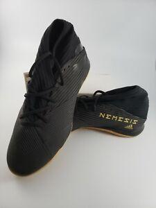 ADIDAS Size 12 Mens NEMEZIZ 19.3 Indoor Soccer Shoes Sneakers Black Gold