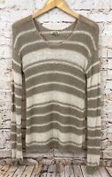 Lucky Brand sweater womens medium tunic brown striped scoop neck long slv A2