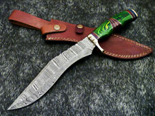 """Authentic HAND FORGED DAMASCUS 15.0"""" BOWIE HUNTING KNIFE - HARD WOOD - WD-7870"""