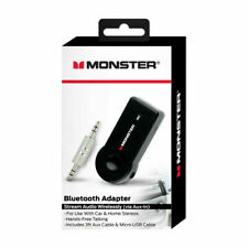 Monster Wireless Bluetooth Adapter Stream Audio Wirelessly Via AUX in Black