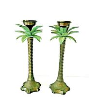 Vintage Heavy Metal Brass Palm Tree Candle Holders Candlesticks 12""