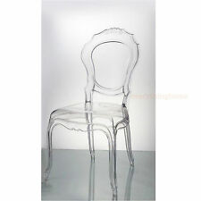 Clear Transparent Ghost Vanity Dining Side Chair French Baroque Polycarbonate