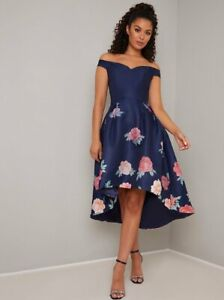 Chi Chi London Dip Hemi  Floral Midi Occasion Party Nice Dress 14 16 Navy/Multi