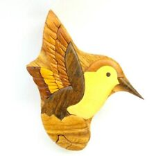 Hummingbird Wooden Puzzle Box Intarsia Wood Jewelry Trinket Box Collectible