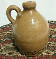 Country Style Pottery Small Jug Glazed and Crackled Tan with Cobalt Blue Design