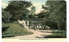 Richmond IN -BEAR CAGE IN GLEN MILLER PARK ZOO- Postcard Indiana