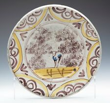 ANTIQUE DELFT PUCE & YELLOW FARMYARD BOWL 17/18TH C.