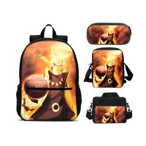 Naruto0 Backpack 4PCS Shoulder Bag Lunch Bag Crossbody Pen Bag Unisex Kids Gifts