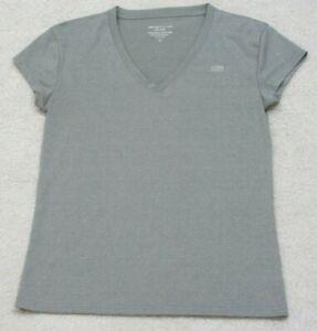 Marika Tek Gray Dri Wik Short Sleeve V-Neck Performance T-Shirt Top Size Medium