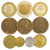 10 COINS FROM CHILE OLD COLLECTIBLE COINS SOUTH AMERICA CHILEAN PESOS