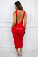 Vestiti da donna rosso party senza maniche