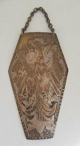 Antique Polish Ryngraf Silver Metal Eagle Shield Hallmarked ORNO Wall Art