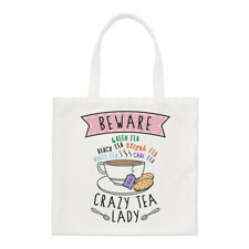 Beware Crazy Tea Lady Regular Tote Bag Mum Mothers Day British Shopper