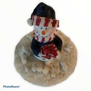 Vintage Snowman Candle Topper Lid Christmas Holiday Party Ceramic Cork Gift =