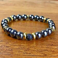 Bracelet Homme/Femme Hématite Lave Pierres Naturelles Perles du Tibet dorées