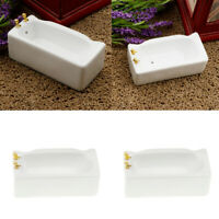 2Pcs 1:12 Dollhouse White Porcelain Bath Tub Miniature Bathroom Decoration