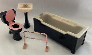 Vintage Art Deco Style Metal Dolls House Bathroom Set, c 1960