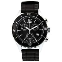 NEW-TIMEX PREMIUM BLACK+SILVER TONE, SILICONE BAND,CHRONOGRAPH WATCH-T2N826